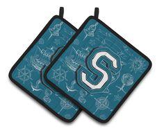 Letter S Sea Doodles Initial Alphabet Pair of Pot Holders CJ2014-SPTHD
