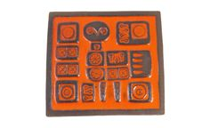 Danish Modern Bird Tile - RARE Vintage 1960's - KNABSTRUP Ceramic Wall Hanging Plaque - KITSCH - Geometric - Orange Glaze -  Made in Denmark...