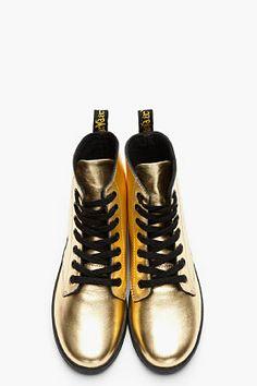 33c8298cf7 Dr. Martens Metallic Gold Nappa Leather Leyton 7-eye Sneakers for women