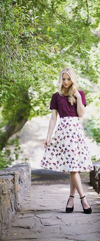 Floral Circle Skirt  A modest, vintage, floral skirt. Paired in the second photo with the Burgundy Scoop Top.