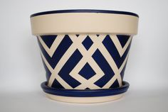 Navy Blue hand painted flower pot in a by ThePottedGarden on Etsy, $40.00