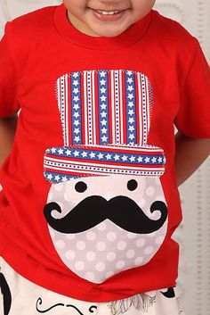 MUSTACHE Uncle Sam Kids Boys Fourth of July RED Shirt Sizes 0-7 on Etsy, $28.00