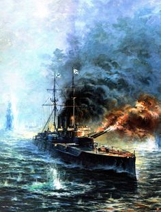 "Russian Armored Cruiser ""Rurik"" during the Russo-Japanese War"