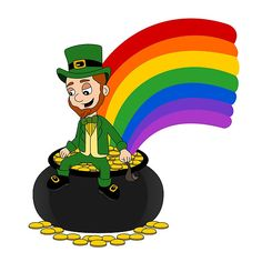 Poster with cartoon leprechaun sitting on a pot of gold by Radka Kavalcova