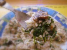 Hubové rizoto s baby špenátom