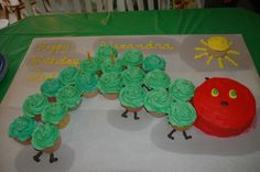 The Very Hungry Caterpillar party. Cupcake Cake.