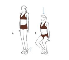 First-Position Plié Squat Begin with heels touching and toes slightly turned out. (A) Keeping heels together, rise up onto your toes. (Hold on to a wall if you feel wobbly, but maintain posture.)(B) Bend your knees into a half squat for two counts, then come back up in two counts, keeping heels together.
