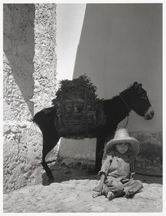 He comes to you righteous and victorious, yet he is humble, riding on a donkey, on a colt. - Boy and donkey, 1933, by Paul Strand