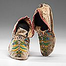 Santee Sioux Beaded Hide Moccasins - Cowan's Auctions