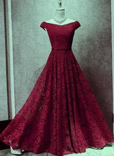 Wine Red Lace Off Shoulder Lace-up Long Party Dresses, Lace Evening Gowns, Formal Gowns - Kleider 4 - Indian Gowns Dresses, Prom Dresses Uk, Pretty Dresses, Red Gowns, Long Party Dresses, Indian Wedding Gowns, Lace Dresses, Bridal Gowns, Wedding Dresses