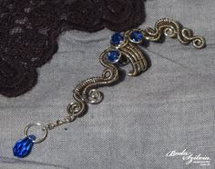 SAPPHIRE wire wrapped ear cuff  silver and blue by bodaszilvia, $31.50