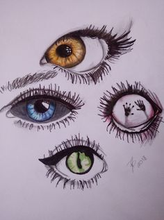#eyes #pencil #pen #drawing #orange #blue #red #green