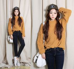 SaeA Eom - Snapback Hat, Mustard Color Sweater, Darkblue Jean, Canvas Bag, Converse Sneakers, Long Hair Wig - Style for weekend