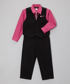 Look what I found on #zulily! Fuchsia Four-Piece Vest Set - Infant, Toddler & Boys #zulilyfinds