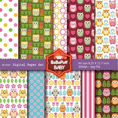 Buy 2 Get 2 Free ---- Baby Owls Digital Papers ---- Personal and Small…