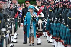 Queen Elizabeth II attends the Ceremony of The Keys, with the 2nd Battallion Royal Regiment of Scotland as Guard of Honour at The Palace Of Holyroodhouse on June 30, 2014 in Edinburgh, Scotland.