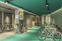Bike Room, Cycle Shop, Bicycle Storage, Bike Parking, Bike Store, Parking Design, Wayfinding Signage, Industrial Interiors, Interior Design Inspiration