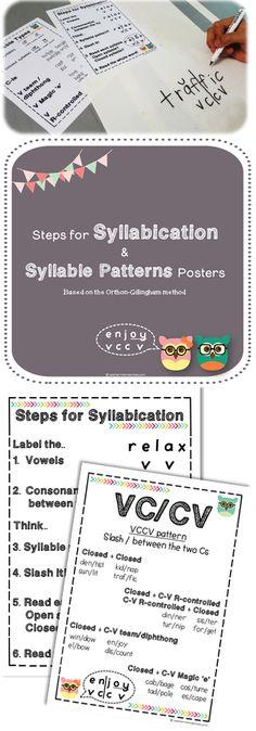 syllables posters   If you are teaching syllables the Orthon-Gillingham way in your classroom, these posters (which can be printed in A4 or A5 sizes) would be very useful for you and your pupils! They serve as quick reference guides for you and your pupils during lessons.