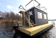 Our largest floating sauna Frank XL read more about it here Floating Picnic Table, Floating Dock, Floating House, Pontoon Houseboat, Floating Architecture, Shanty Boat, Water House, Boat House, Outdoor Sauna