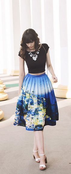 Santorini skirt. Wearable art. #blue #art #skirt