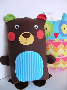 Bear and Owl Sewing Toys, Sewing Crafts, Softies, Handmade Stuffed Animals, Fabric Animals, Baby Sewing Projects, Fabric Toys, Animal Pillows, Soft Dolls
