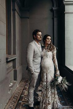 Best of 2018: Bridal Gowns.  Pregnant bride in Rue de Seine Bridal 'Avril' dress    #pregnant #bride #boho #wedding