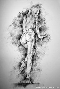Page 34 01 by 54ka :: SketchBook Page 34   female figure drawing :: sketchbook :: Figure Drawing Female Image charcoal Body Sketch study Pos...