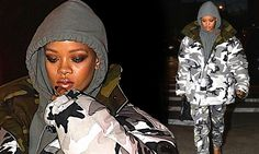 Hiding her curves! Rihanna covers up in huge camouflage jacket with matching slacks as she heads to music video ... - Daily Mail