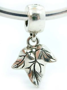 """ 3D Leaf Dangling Charm "" Silver Charm Bead Pandora Troll Chamilia Kay Zable Compatible: Jewelry: Amazon.com"