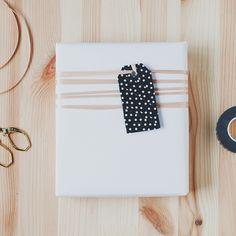 gift wrap - washi tape wrapped tag // anastasia marie
