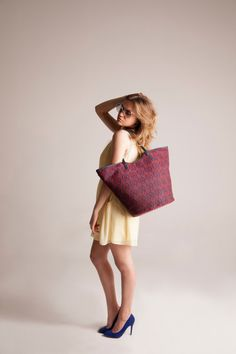 Red and blue large woven Tote Bag with Leather by vquadroitaly