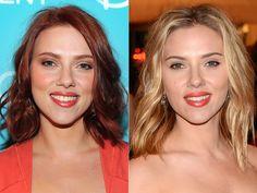 Scarlett Johansson, celebrity hair color changes, celeb hairstyles, Scarlett Johansson hairstyle, Scarlett Johansson hair color changes, red highlights, blonde hair