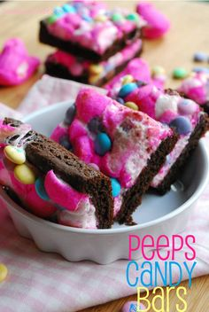 These Peeps Candy Bars are chewy, fudgy brownies topped with sugary, sticky-sweet PEEPS candy and fun Easter M&M's for a decadent and sweet Easter treat!
