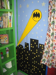 Do a batman light.with a cross or the HERO logo for vbs. Jesus is My Superhero theme. Vbs Themes, School Themes, Superhero Classroom Theme, Classroom Themes, Superhero Door, Batman Light, Batman Birthday, How To Finish A Quilt, Vacation Bible School