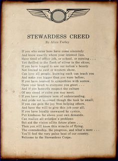The Eastern Airline Flight Stewardess Creed by Alice Farley