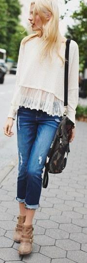 Cute lace trim sweater!