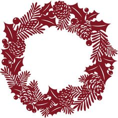 Silhouette Design Store - View Design holly and pine christmas wreath Silver Christmas Decorations, Easy Christmas Crafts, Diy Christmas Ornaments, Christmas Art, Christmas Projects, All Things Christmas, Simple Christmas, Christmas Wreaths, Xmas
