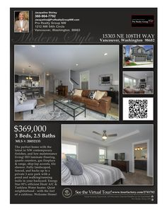 Just Listed! Real Estate for Sale: $369,000-3 Bd/2.1 Ba Modern Two Story NW Contemporary Urban Oaks Home with Greenbelt Views on .07 Acre Landscaped Lot Backs to Private 3 Acre Park with Trails at: 15303 NE 108th Way, Vancouver, Clark County, WA! Area 21. Listing Broker: Jacqueline Shirley (360) 904-7792, Pro Realty Group NW, Vancouver, WA! #realestate #justlisted #UrbanOaksRealEstate #WalnutGroveRealEstate #OrchardsRealEstate #GreenbeltViews #JacquelineShirley #ProRealtyGroupNW