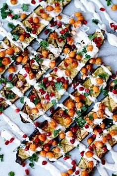 Oven Roasted Zucchini with Chickpeas and Cashew Cream Drizzle | TWO SPOONS | Plant-based recipes worth sharing