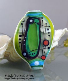Pepper mint Park  Abstract Art Glass Focal Bead by by michoudesign, $89.00