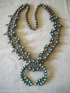 SIGNED Vintage ZUNI PetitPoint TURQUOISE Sterling Silver SQUASH BLOSSOM NECKLACE