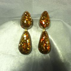 Handmade Gold and Red Gillter Stud Resin Teardrop Beads. Customized drilled holes to accoompany second Tier of drops. Unique in Style Color and Process. Love these! $4