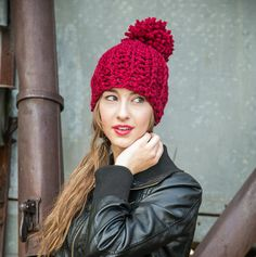 Hey, I found this really awesome Etsy listing at https://www.etsy.com/listing/192689945/red-pom-pom-hat-adult-pom-hat-red-winter