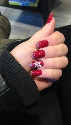 Christmas Nails Coffin Shape Red With Sparkle Tips And A Sparkled Snowflake On The Ring Finger