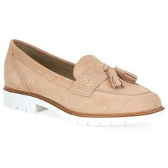 KG Kurt Geiger Kola Loafer (165 NZD) ❤ liked on Polyvore featuring shoes, loafers, suede flat shoes, suede flats, chunky loafers, flat pumps and almond toe flats