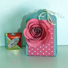 Valentine treat, Stampin' Up! Occasions 2014, Spiral Flower die, see also http://heidistampinalong.blogspot.ca/2014/01/scrapbooking-for-optimism.html