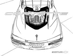 Some mid-engine fun. Share your masterpiece. Camaro Car, Chevrolet Corvette, Coloring Pages For Kids, Coloring Books, Car Activities, Chevy Avalanche, Dream Garage, Spaceships, Free Stuff