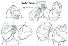 Clean-up animation for Koda's Mom (seq. 25 / scene from Disney's Brother Bear. Via: Brother Bear: A Transformation Tale (The Art of Brother Bear) Disney Concept Art, Disney Art, Walt Disney, Animation Reference, Art Reference, Terryl Whitlatch, Thinking In Pictures, Bear Drawing, Brother Bear