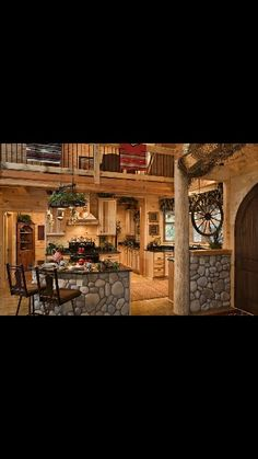 Log cabin kitchen cabinets awesome home floors dream house ideas luxury kitchens with cabinet knobs . Log Home Kitchens, Luxury Kitchens, Dream Kitchens, Hickory Kitchen Cabinets, Kitchen Floors, Log Home Builders, Log Cabin Homes, Log Cabins, Country Kitchen