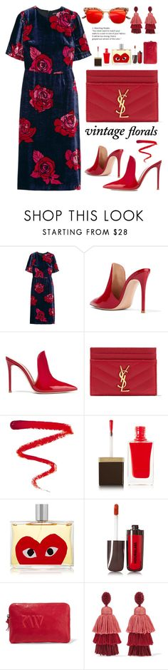 """Smell the Roses: Vintage Florals"" by dzansumansu ❤ liked on Polyvore featuring Markus Lupfer, Gianvito Rossi, Yves Saint Laurent, Ellis Faas, Tom Ford, Comme des Garçons, Hourglass Cosmetics, Kjaer Weis, Oscar de la Renta and vintage"